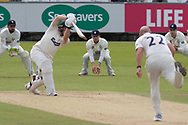Harry Dearden drives Chris Rushworth during the Specsavers County Champ Div 2 match between Durham County Cricket Club and Leicestershire County Cricket Club at the Emirates Durham ICG Ground, Chester-le-Street, United Kingdom on 20 August 2019.
