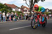 London, UK. Wednesday 1st August 2012. The Men's Individual Time Trial cycling event passes through Twickenham on route to find the fastest male cyclist. Rider Janez Brajkovic of Slovenia.