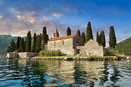 """Svenoc view of the Island of Saint George, (Ostrvo Sveti Đorđe) and  the Saint George Benedictine monastery (12th century) and an old graveyard. It is told that it has been an inspiration for the painting """"Isle of the Dead"""" by Arnold Böcklin., Kotor Bay, Montenegro .<br /> <br /> Visit our MONTENEGRO HISTORIC PLAXES PHOTO COLLECTIONS for more   photos  to download or buy as prints https://funkystock.photoshelter.com/gallery-collection/Pictures-Images-of-Montenegro-Photos-of-Montenegros-Historic-Landmark-Sites/C0000AG8SdQ.sYLU"""