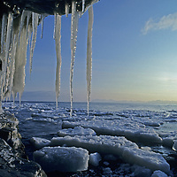 """SPITSBERGEN, Svalbard, Norway. Icicles that suggest Svalbard archipeligo's name (""""frozen coast"""") hang off cliff above ice-choked Isfjorden, near Longyearbyen."""