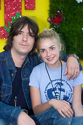 Gail Porter with then boyfriend, before they married, Toploader guitarist Dan Hipgrave..T in the Park, 8th July 2001..Pic ©2010 Michael Schofield. All Rights Reserved.