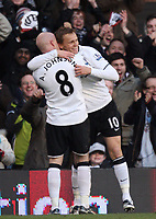 F.A. Barclaycard Premiership. Fulham v Portsmouth. 31.01.09<br /> Pic By Karl Winter Fotosports International<br /> Fulham celebrate sub Erik Nevland's first goal with Andrew johnson