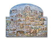 Pictures of the famous Nilotic landscape Palestrina Mosaic or Nile mosaic of Palestrina of the Museo Archeologico Nazionale di Palestrina Prenestino  (Palestrina Archaeological Museum), Palestrina, Italy. Measuring 5.85 m wide by 4.31 m high ( 19 ft wide x 14 ft high). 1st or 2nd century BC. Against a white background.<br /> <br /> The Nile mosaic of Palestrina can be attributed to Alexandrian artists who were certainly present in Italy during the 2nd century BC. The mosaic depicts the Nile in flood and artificially compresses the length of the river into a series of zig zags. The top part of the mosaic represents Ethiopia and Nubia at the source of the Nile. The river flows down steep slopes between black hunters and African animals. The Nile flows to the bottom right hand corner of the mosaic where the harbour of Alexandria is depicted and right in the bottom right corner is the Island of the Pharos opposite which is a banqueting scene, possibly at Canopus. <br /> <br /> In the centre of the mosaic is a large Egyptian temple possibly the great sanctuary of Memphis or Karnak. The Mosaic though is dotted with Greek temples of the Greek ruling Ptolemy family who displaced the Pharos. .<br /> <br /> If you prefer to buy from our ALAMY PHOTO LIBRARY  Collection visit : https://www.alamy.com/portfolio/paul-williams-funkystock/roman-mosaic.html - Type -   Palestrina   - into the LOWER SEARCH WITHIN GALLERY box. Refine search by adding background colour, place, museum etc<br /> <br /> Visit our ROMAN MOSAIC PHOTO COLLECTIONS for more photos to download  as wall art prints https://funkystock.photoshelter.com/gallery-collection/Roman-Mosaics-Art-Pictures-Images/C0000LcfNel7FpLI