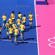 The Australia team warm up before the Australia V Holland women's hockey warm up match on the main hockey arena at Olympic Park, Stratford during the London 2012 Olympic games preparation at the London Olympics. London, UK. 22nd July 2012. Photo Tim Clayton