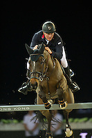 Joe Clee on Vedet de Muze E T competes during Hong Kong Jockey Club Trophy at the Longines Masters of Hong Kong on 19 February 2016 at the Asia World Expo in Hong Kong, China. Photo by Juan Manuel Serrano / Power Sport Images
