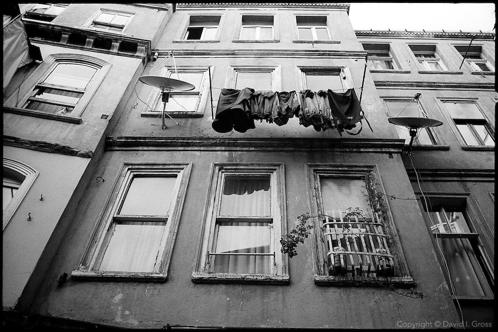 An apartment building in Istanbul, Turkey in the small streets near the Galata Tower in Beyoglu, Istanbul.
