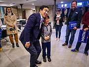27 APRIL 2019 - STUART, IOWA: ANDREW YANG, candidate for the Democratic nomination for the US presidency, poses for pictures at the Reaching Rural Voters Forum in Stuart. The forum was an outreach by Democrats in Iowa's 3rd Congressional District to mobilize Democratic voters statewide. Iowa saw one of the largest shifts from Democrats to Republicans in the 2016 Presidential election and Trump won the state by double digits. Republicans control the governor's office and both chambers of the Iowa legislature. Iowa traditionally hosts the the first selection event of the presidential election cycle. The Iowa Caucuses will be on Feb. 3, 2020.       PHOTO BY JACK KURTZ