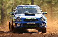 Dean Herridge & Glenn MacNeall .Subaru Impreza WRX.2003 Falken Rally of Queensland.Imbul State Forest, QLD.13th-15th of June 2003 .(C) Joel Strickland Photographics
