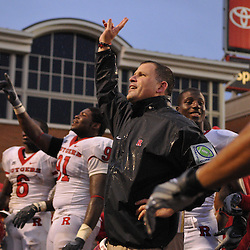 Sep 26, 2009; College Park, MD, USA; Rutgers head coach Greg Schiano celebrates Rutgers' 34-13 victory over Maryland in NCAA college football at Byrd Stadium.