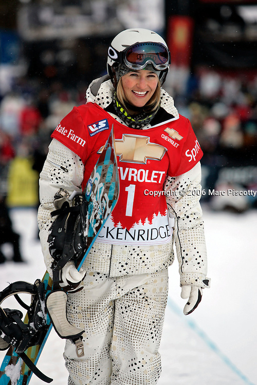 Gretchen Bleiler of Snowmass Village, Co. was all smiles after winning the halfpipe finals at the Chevrolet U.S. Snowboard Grand Prix in Breckenridge, Co. Saturday December 17, 2005. The Breckenridge event was the first of three stops in a series that will determine who will make the U.S. Snowboard Team and represent the country in the 2006 Winter Olympics in Torino, Italy. Shaun White of Carlsbad, Ca. won the men's event while Gretchen Bleiler of Snowmass Village, Co. won the women's event. The Grand Prix, now in its 10th year as the premier snowboard series in North America, features a cash purse of $340,000 and a new Chevrolet truck to the overall male and female winner of the series. Bleiler won the event with a score of 44.50..(MARC PISCOTTY/ © 2006)