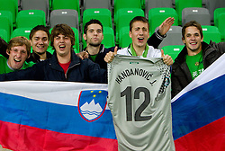 Fans of Slovenia during the EURO 2012 Group C Qualifier match between Slovenia and Faroe Islands at Stozice stadium on October 8, 2010 in SRC Stozice, Ljubljana, Slovenia. Slovenia defeated Faroe Islands 5-1. (Photo by Vid Ponikvar / Sportida)