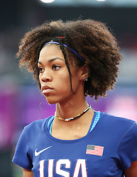 London, August 12 2017 . Vashti Cunningham, USA, the women's high jump final on day nine of the IAAF London 2017 world Championships at the London Stadium. © Paul Davey.