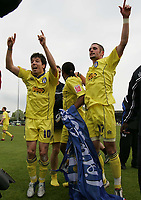 Photo: Lee Earle.<br /> Yeovil Town v Colchester United. Coca Cola League 1. 06/05/2006. Colchester's Kem Izzet (L) and John White lead the celebrations.