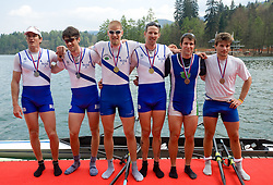 Second placed Iztok Cop and Zupan Janez of VK Bled, first placed Ziga Spik and Luka Spik and third placed  Matej Rojec and Andraz Krek of Ljubljanica - Argo at 51st Prvomajska Regatta Bled 2010, on April 25, 2010, at Lake Bled, Bled, Slovenia. (Photo by Vid Ponikvar / Sportida)