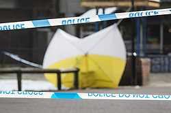 © Licensed to London News Pictures. 20/03/2018. Salisbury, UK. Police cordon tape surrounds a tent covering the bench at The Maltings shopping area where former Russian spy Sergei Skripal and his daughter Yulia were poisoned with nerve agent. The couple where found unconscious on bench in Salisbury shopping centre. A policeman who went to their aid is currently recovering in hospital. Photo credit: Peter Macdiarmid/LNP