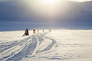 UNIS students travel up Rabotbreen, Svalbard on a class field trip by snowmobile to Tunabreen.