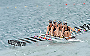 Bled, SLOVENIA,  Bow,  Harriet  AUSTIN, Paula TWINNING, Emma-Jane TEATERY and Louisa PRAPPIT,  NZL W4X. move  away from the start, in their heat of the women's Quadruple sculls  on the opening day, FISA World Cup, Bled venue, Lake Bled.  Friday  28/05/2010  [Mandatory Credit Peter Spurrier/ Intersport Images] Cop last event as international level.