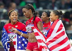 11.08.2012, Olympia Stadion, London, GBR, Olympia 2012, 4 x 400m Staffel, Damen, Finale, im Bild Team USA DeeDee Trotter (USA), Allyson Felix (USA), Francena Mccorory (USA), Sanya Richards-Ross (USA) // Team USA DeeDee Trotter (USA), Allyson Felix (USA), Francena Mccorory (USA), Sanya Richards-Ross (USA)  during Women's 4 x 400m Relay Final at the 2012 Summer Olympics at Olympic Stadium, London, United Kingdom on 2012/08/11. EXPA Pictures © 2012, PhotoCredit: EXPA/ Johann Groder