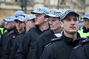London, UK. Saturday 1st June 2013. Police line to control demonstrators in Westminster to protest against fascism and the BNP who held a small rally nearby. Unite Against Fascism organised this counter-demonstration in which police had to keep both sides apart.