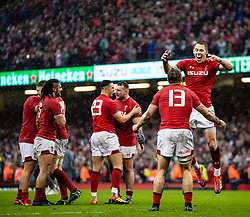 Liam Williams of Wales celebrates the win<br /> <br /> Photographer Simon King/Replay Images<br /> <br /> Six Nations Round 5 - Wales v Ireland - Saturday 16th March 2019 - Principality Stadium - Cardiff<br /> <br /> World Copyright © Replay Images . All rights reserved. info@replayimages.co.uk - http://replayimages.co.uk