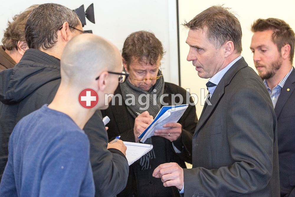 Sporting director Axel Thoma answers to questions during a press conference of Super League (National League A) soccer team Grasshopper Club Zuerich (GCZ) held at the GC Campus in Niederhalsi, Switzerland, Friday, Feb. 6, 2015. (Photo by Patrick B. Kraemer / MAGICPBK)