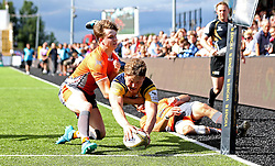 Ted Hill of Worcester Warriors scores a try - Mandatory by-line: Robbie Stephenson/JMP - 30/07/2016 - RUGBY - Kingston Park - Newcastle, England - Worcester Warriors v Newcastle Falcons - Singha Premiership 7s