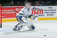 KELOWNA, CANADA - OCTOBER 26: Griffen Outhouse #30 of the Victoria Royals warms up in net against the Kelowna Rockets on October 26, 2016 at Prospera Place in Kelowna, British Columbia, Canada.  (Photo by Marissa Baecker/Shoot the Breeze)  *** Local Caption ***