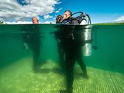Scuba divers on the platform at Dutch Springs, Scuba Diving Resort in Pennsylvania