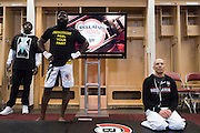 Houston, Texas - February 19, 2016: Kimbo Slice and Royce Gracie watch the fights backstage in their locker room during Bellator 149 at the Toyota Center in Houston, Texas on February 19, 2016. (Cooper Neill for ESPN)