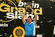 Gerwyn Price lifts the trophy during the BWIN Grand Slam of Darts at Aldersley Leisure Village, Wolverhampton, United Kingdom on 18 November 2018.