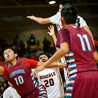 010915  Adron Gardner/Independent<br /> <br /> Shiprock Chieftain Deron Johnson (10) releases a layup  during the Gallup Invitational Basketball Tournament at Gallup High School Friday.