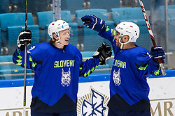 Jan Drozg of Slovenia and Bostjan Golicic of Slovenia celebrate after scoring a goal during ice hockey match between Slovenia and Lithuania at IIHF World Championship DIV. I Group A Kazakhstan 2019, on May 5, 2019 in Barys Arena, Nur-Sultan, Kazakhstan. Photo by Matic Klansek Velej / Sportida