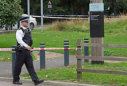 © Licensed to London News Pictures 23/09/2021. Kidbrooke, UK, A large police cordon is still in place around Cator Park at Kidbrooke Village in Kidbrooke, South East London today after the body of 28 year old school teacher Sabina Nessa was found near a community centre. Police have said Sabina left her home and walked through Cator Park heading for the Depot pub at Pegler Square in Kidbrooke Village to meet a friend. Photo credit:Grant Falvey/LNP