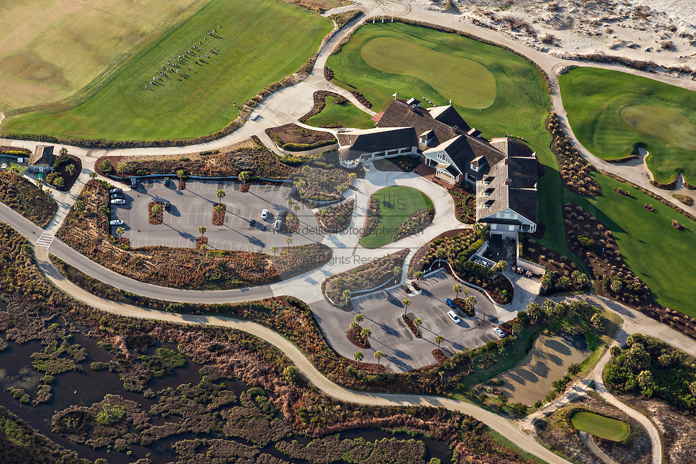Aerial view of the Ocean Course clubhouse in Kiawah Island, SC.