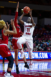 NORMAL, IL - February 07: Tete Maggett takes a shot defended by a double team of Nyjah White and Mahri Petree during a college women's basketball game between the ISU Redbirds and the Braves of Bradley University February 07 2020 at Redbird Arena in Normal, IL. (Photo by Alan Look)
