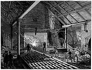 Tapping a blast furnace and running molten iron into the 'Pigs'.  Wood engraving c1885