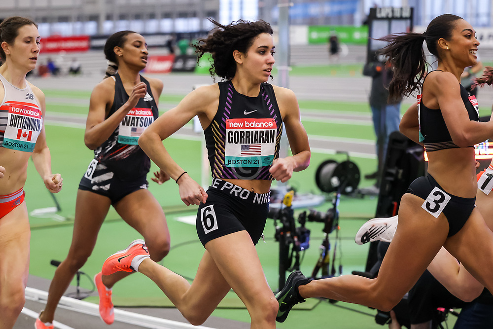 New Balance Indoor Grand Prix<br /> Staten Island, New York, February 13, 2021<br /> womens 800m, Sophia Gorriaran, a 15-year-old sophomore at Moses Brown School in Rhode Island takes 5th in 2:03.94