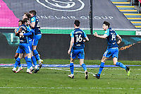 Football - 2020 / 2021 Sky Bet Championship - Swansea City vs Preston North End - Liberty Stadium<br /> <br /> Preston North End celebrate after Matt Grimes Swansea City concedes an own goal in the 90th minute, Preston staff celebrate in background<br /> <br /> COLORSPORT/WINSTON BYNORTH