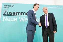 "08.08.2017, Volksgarten, Wien, AUT, ÖVP, Neues von der Bewegung ""Liste Kurz - Die neue Volkspartei"". im Bild v.l.n.r. Außenminister Sebastian Kurz und Professor an der Technischen Universität Wien Rudolf Taschner // f.l.t.r. Austrian Foreign Minister Sebastian Kurz and Rudolf Taschner (Technical University Vienna) during media conference of the austrian peoples party in Vienna, Austria on 2017/08/08. EXPA Pictures © 2017, PhotoCredit: EXPA/ Michael Gruber"