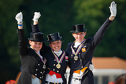 Podium Individual Young Riders <br /> 1. Cathrine Dufour<br /> 2. Juliette Piotrowski<br /> 3. Stephanie Kooijman<br /> European Championship Dressage Young Riders<br /> Compiegne 2013<br /> © Dirk Caremans