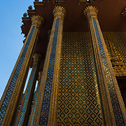 Royal Pantheon mosaic walls in <br /> Prasat Phra Thep Bidon, Grand Palace Complex, Bangkok, Thailand