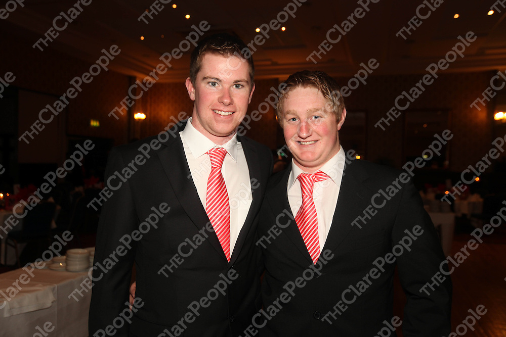 Paraic O Malley and Briain Dillon pictured at the Crusheen Social in the West County Hotel on Friday night.<br /> Pic. Brian Arthur/ Press 22.