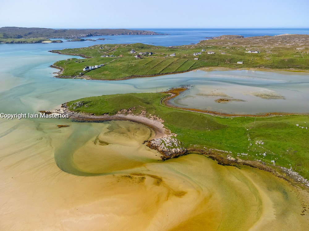 Aerial view from drone of Uig sands beach on west coast of Isle of Lewis , Outer Hebrides, Scotland, UK
