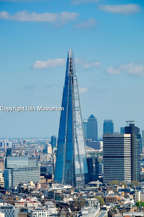 View of The Shard new skyscraper and skyline of London United Kingdom