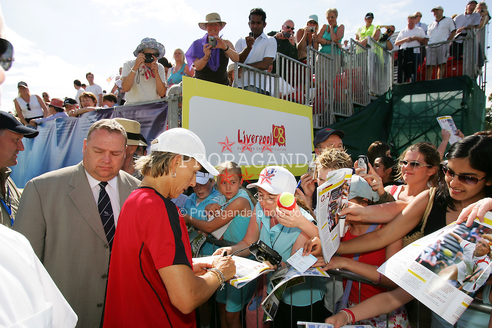 LIVERPOOL, ENGLAND - THURSDAY, JUNE 9th, 2005: Martina Navratilova signs autographs after playing in the Mixed Doubles at the Liverbird Developments Liverpool International Tennis Tournament in Calderstones Park. (Pic by Dave Rawcliffe/Propaganda)