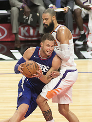 October 21, 2017 - Los Angeles, California, U.S - Blake Griffin #32 of the Los Angeles Clippers drives past Tyson Chandler #4 of  the Phoenix Suns during their first season game on Saturday October 21, 2017 at the Staples Center in Los Angeles, California. Clippers defeat Suns, 130-88. (Credit Image: © Prensa Internacional via ZUMA Wire)
