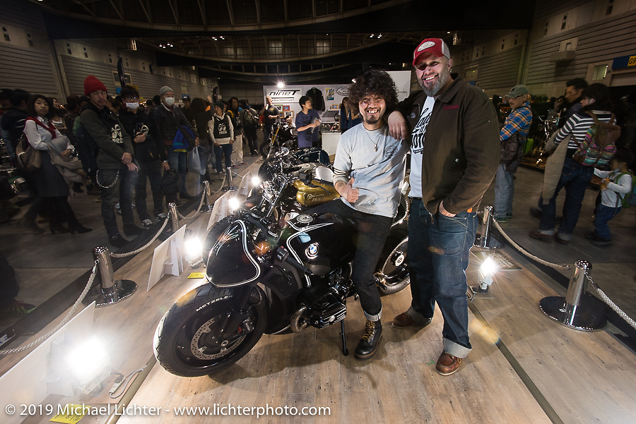 Kaichiroh Kurosu and BMW's head of motorcycle design Ola Stenegard at the unveiling of custom BMW's during the Annual Mooneyes Yokohama Hot Rod and Custom Show. Japan. Sunday, December 7, 2014. Photograph ©2014 Michael Lichter.