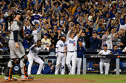 October 31, 2017 - Los Angeles, California, U.S.A - Los Angeles Dodgers bench reacts after Chris Taylor doubles to tie the game in the 6th inning of game six of a World Series baseball game at Dodger Stadium on Tuesday. (Credit Image: © Keith Birmingham/Los Angeles Daily News via ZUMA Wire)