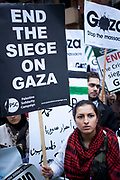 London, UK. Saturday 17th November 2012. Demonstration against Israeli attacks on Gaza. Hundreds of Palestinians and Pro-Palestinians gathered to protest to gain freedom for Palestine and against Israel's recent shelling.