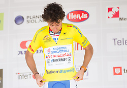 Winner Fabio Felline (ITA) of Androni-Ciocattoli in yellow jersey during flower ceremony after the Stage 2 from Kocevje to Visnja Gora (168,5 km) of cycling race 20th Tour de Slovenie 2013,  on June 14, 2013 in Slovenia. (Photo By Vid Ponikvar / Sportida)